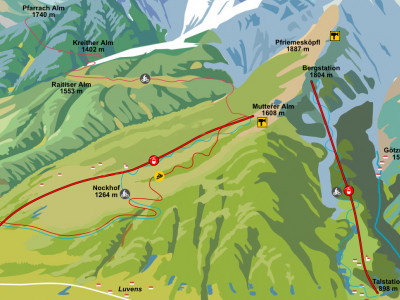 Trailmap Downhill Muttereralm - ein Bikepark in Tirol